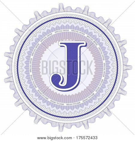 Vector Guilloche Pattern Rosette and border with letter J. Monetary banknote background print. Abstract guilloche letter design.