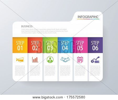 Infographic tab index design vector and marketing template business. Can be used for workflow layout diagram annual report web design. Business concept with 6 options steps or processes.