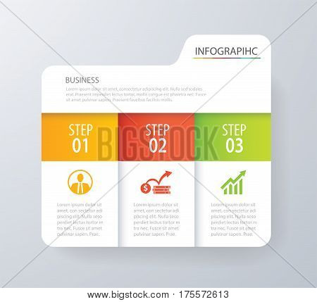 Infographic tab index design vector and marketing template business. Can be used for workflow layout diagram annual report web design. Business concept with 3 options steps or processes.