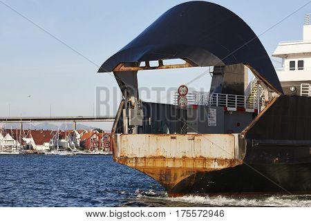 Norwegian ferry detail in Stavanger city. Norway. Transportation background