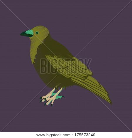 flat shading style icon raven bird wild