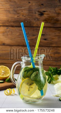 Fresh Summer Drink. Healthy Detox Water With Lemon, Cucumber And Mint