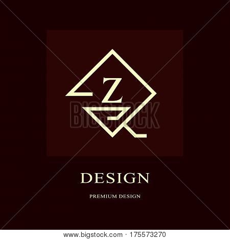 Abstract logo design. Modern luxury monogram. Minimum elements. Letter emblem Z. Mark of distinction. Universal rhombus template. Fashion label for Royalty company business card. Vector illustration