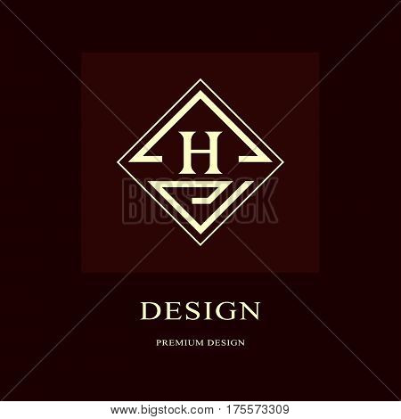 Abstract logo design. Modern luxury monogram. Minimum elements. Letter emblem H. Mark of distinction. Universal rhombus template. Fashion label for Royalty company business card. Vector illustration