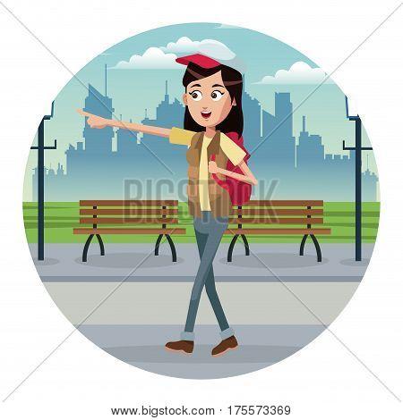 woman walk backpack and cap park urban vector illustratioon eps 10