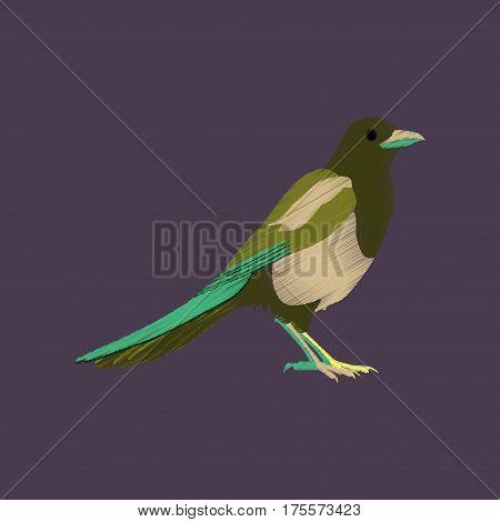 flat shading style icon magpie bird wild