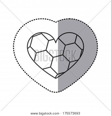 grayscale sticker of heart with texture of soccer ball vector illustration