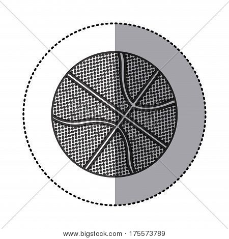 grayscale sticker with basketball ball vector illustration
