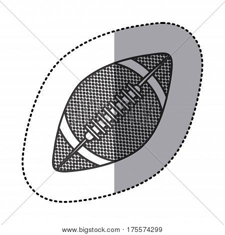 grayscale sticker with football ball vector illustration
