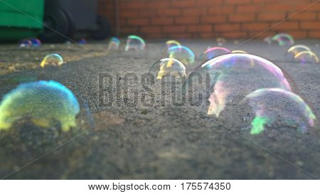 A view of a childs blown bubbles which have landed on the path