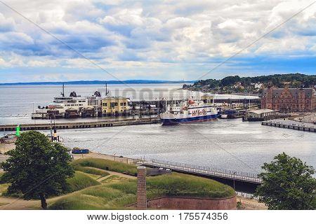 HELSINGOR DENMARK 14 JUNE: Seaport of Helsingor city and building of train station from Cronborg castle Denmark in 2012