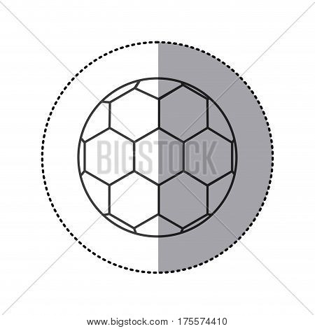 grayscale sticker with soccer ball vector illustration