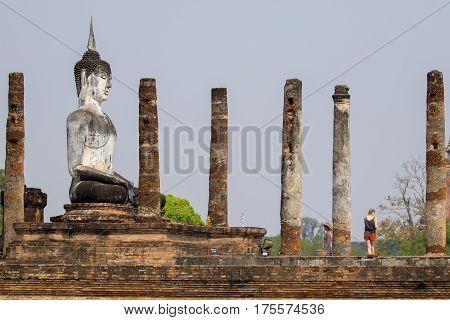 Sukhothai Historical Park In Thailand Buddha statue Old Town