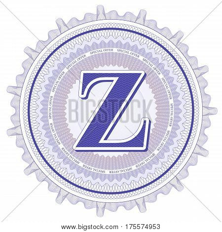 Vector Guilloche Pattern Rosette and border with letter Z. Monetary banknote background print. Abstract guilloche letter design.