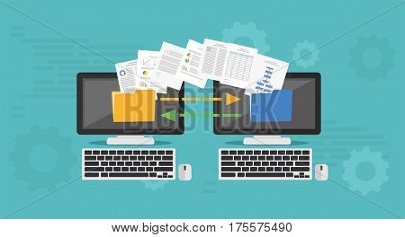 Copy File Data Exchange. Transfer file concept