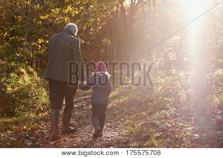 Grandfather And Granddaughter Enjoying Autumn Walk