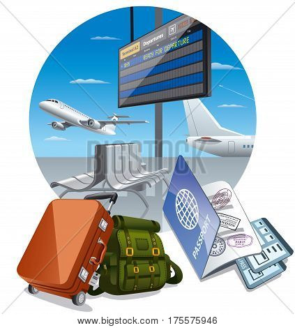 illustration of arrival departure in airport with luggage and tickets