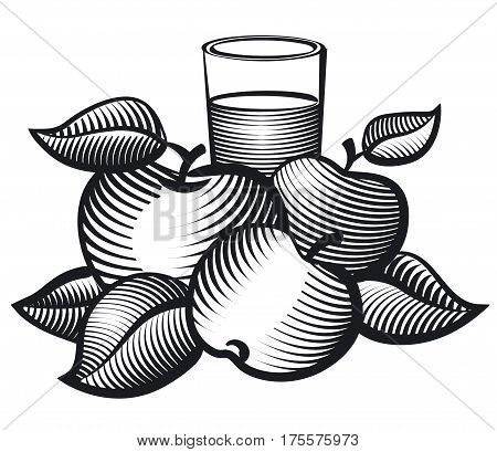 black and white illustration of aplles and glass of juice