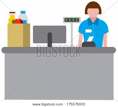 flat illustration of icon of cashbox wth cashier