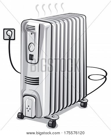 illustration of white metal oil electric heater
