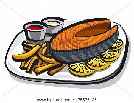 illustration of cooked salmon with fries on plate