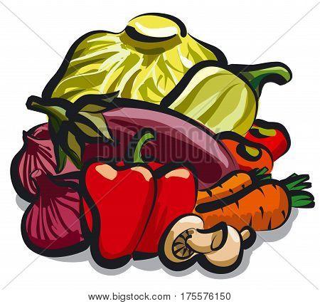 illustration of group of ripe vegetables for nutrition