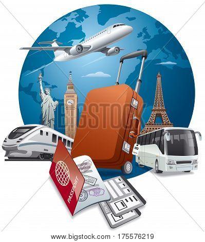 concept illustration of travel around the world