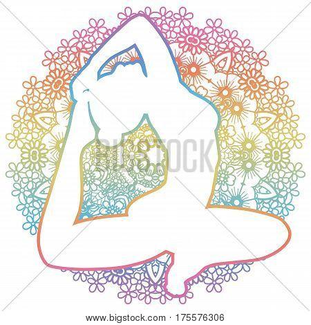 Women silhouette. One-legged king Pigeon yoga pose. Eka pada rajakapotasana. Vector illustration.