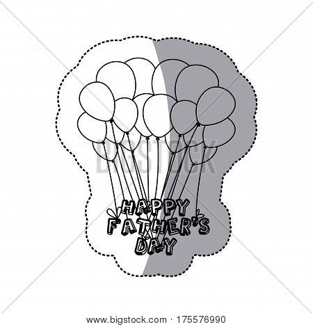 monochrome contour sticker of father's day celebration balloons vector illustration