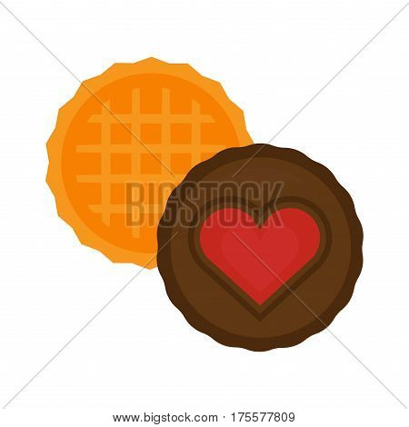 Biscuit heart cake isolated chocolate cookies on white and biscuit isolated vector food icon. Biscuit isolated sweet dessert and delicious cake isolated eating healthy cookie.
