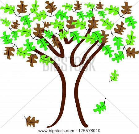Tree  and green,yellow and brown leafs on white background.Vector illustration.