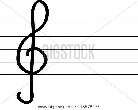 Treble clef and warp on white background.Vector Illustration.