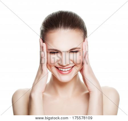 Relaxing Spa Model Woman with Healthy Skin Touching her Hands her Face Isolated. Spa Beauty and Cosmetology Concept