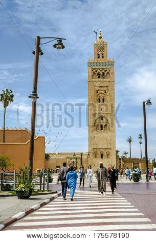 Marrakech Morocco - March 04 2017: The Koutoubia Mosque is the largest mosque in Marrakesh.