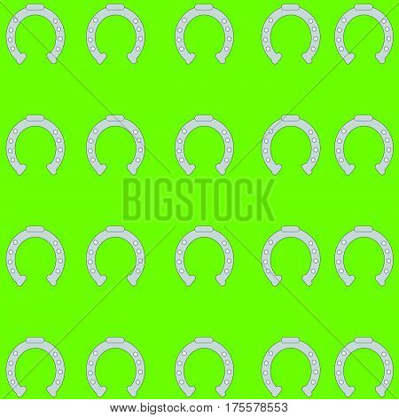 Horse shoes on green background. Vector illustration.