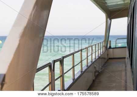 View from the deck of the yacht at the sea