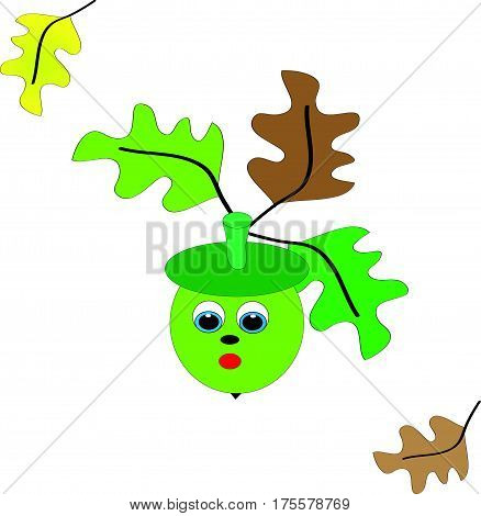 Green acorn on white background with colored leafs.Vector illustration.