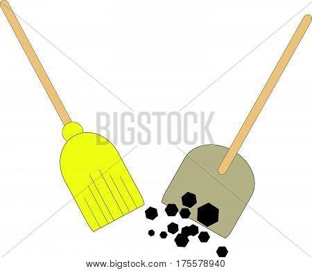 Broom and shovel on white background.Vector illustration.