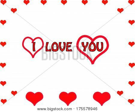 Red hearts with text - i love you. Vector Illustration.