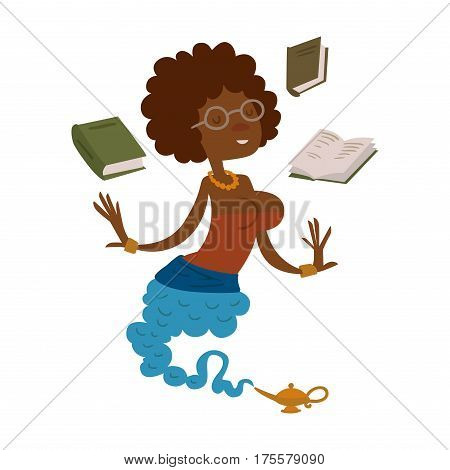 Vector cartoon beautiful teacher genie from the magic lamp on a white background. Set of fairy tale characters. Teacher djinn in glasses and books. Cartoon cute teacher djinn.