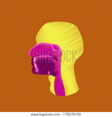 flat shading style icon on orange background pharynx
