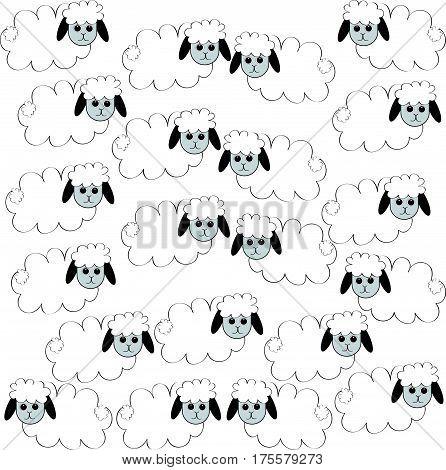 Flock of sheep on white background . Vector illustration.