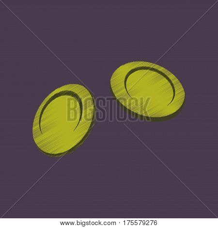 flat shading style icon on violet background blood cells