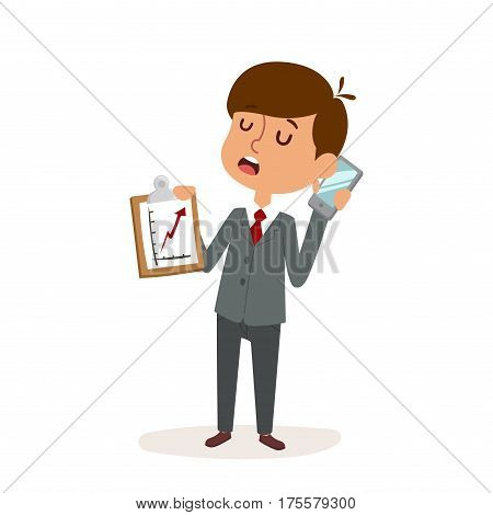 Portrait of child businessmen boy in office and success, creative businessman buy growing business concept. Suit success kid businessman. Boy businessman holding blank phone cartoon character vector.