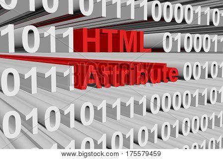html attribute in the form of binary code, 3D illustration
