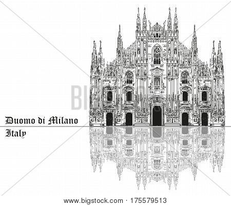 Famous Milan Cathedral with shadow on piazza in Milan Italy. Graphic hand drawing illustration. Vector isolated on a black background.