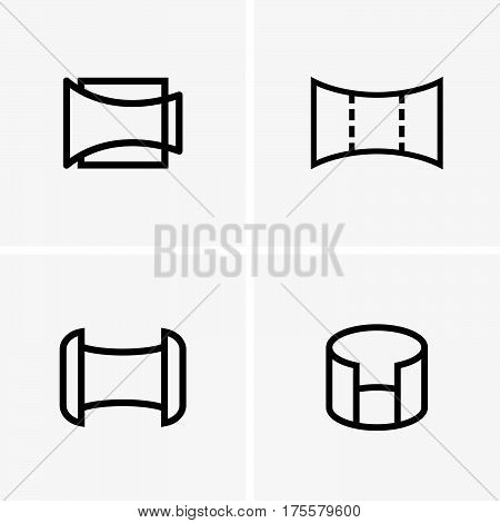 Set of four panorama symbols on light grey background