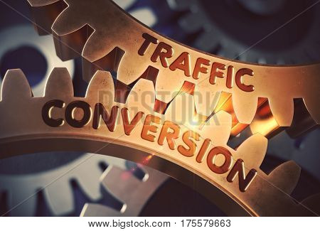Traffic Conversion on the Mechanism of Golden Cog Gears with Lens Flare. Traffic Conversion Golden Metallic Cog Gears. 3D Rendering.