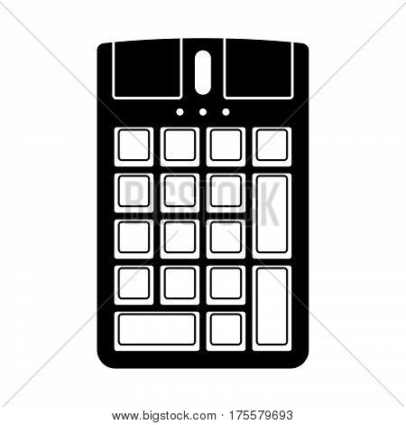 Numeric keypad with a mouse on white