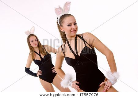 Two sexy playgirls with bunny ears isolated on white
